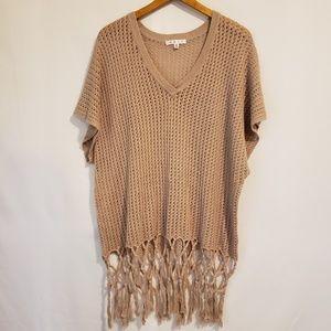 CAbi Chunky Knit Macrame Hem Summer Sweater Medium